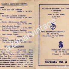 Coleccionismo deportivo: TEMPORADA 1961-1962, DIPTICO CARGOS FEDERACION ANDALUZA DE FUTBOL, RARO. Lote 75494403