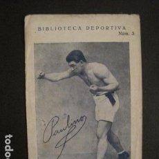 Coleccionismo deportivo: BOXEO - PAULINO UZCUDUN - TARJETA BIBLIOTECA DEPORTIVA -VER FOTOS -(V-9021). Lote 76003691