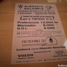 Coleccionismo deportivo: CARTEL DEL ALBACETE BALOMPIÉ. CAMPAÑA CAPTACIÓN DE SOCIOS. TEMPORADA 1983-84. Lote 76394310