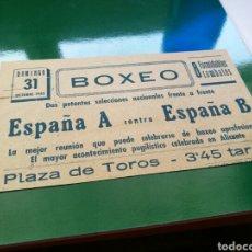 Coleccionismo deportivo: ALICANTE 31/10/1943. VELADA DE BOXEO, PLAZA DE TOROS. Lote 76755023