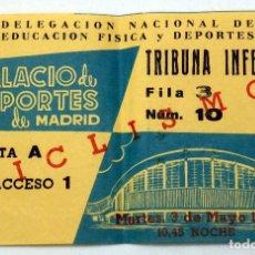 Coleccionismo deportivo: ENTRADA PALACIO DEPORTES MADRID CICLISMO DELEGACIÓN NACIONAL EDUCACIÓN FÍSICA Y DEPORTES 1960. Lote 78612157