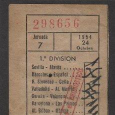 Coleccionismo deportivo: RESGUARDO DE QUINIELA AÑO 1954 , JORNADA 7 . . Lote 78922837