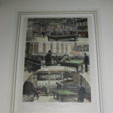 Coleccionismo deportivo: (M) XILOGRAFIA MADRID - ACADEMIA DE BILLAR RECIENTEMENTE INAUGURADA 1894. Lote 79252157