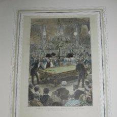 Coleccionismo deportivo: (M) XILOGRAFIA PARIS : PARTIDA DE BILLAR ENTRE M VIGNAUX Y MR SLOSSON , SOSTENIDA EN GRAND-HOTEL. Lote 79253257
