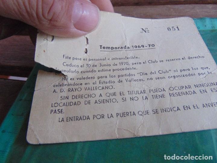 Coleccionismo deportivo: CARNET PASE JUGADOR DE FUTBOL TEMPORADA 1969 1970 A D RAYO VALLECANO EQUIPO - Foto 2 - 79878497