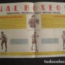 Coleccionismo deportivo: BOXEO - PROGRAMA SAN SEBASTIAN AÑO 1947 -PACO BUENO - KEN SHAW - VER FOTOS - (V-9716). Lote 80112433