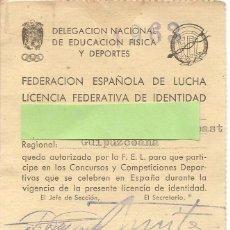 Coleccionismo deportivo: LICENCIA FEDERATIVA DE IDENTIDAD-FEDERACIÓN ESPAÑOLA DE LUCHA-LICENCIA JUDO, 1963. Lote 80596154
