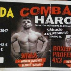 Coleccionismo deportivo: ENTRADA VELADA BOXEO HARO. Lote 81068647