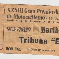 Coleccionismo deportivo: ENTRADA XXXIII GRAN PREMIO DE ESPAÑA DE MOTOCICLISMO CIRCUITO JARAMA 1983. Lote 82867912