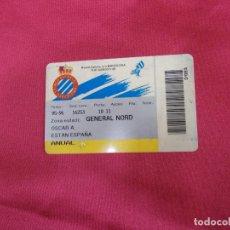 Coleccionismo deportivo: CARNET DE SOCIO R C. D ESPANYOL DE BARCELONA. ABONO TEMPORADA 95-96. ANUAL.. Lote 83584312