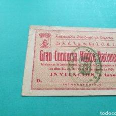 Coleccionismo deportivo: ENTRADA INVITACIÓN PARA GRAN CONCURSO HÍPICO NACIONAL FALANGE. 1950.GIJÓN. Lote 84096560