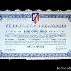 Coleccionismo deportivo: OBLIGACIÓN ATLÉTICO DE MADRID. ESTADIO METROPOLITANO. FÚTBOL. ACCIÓN. AÑO 1958. Lote 97232780