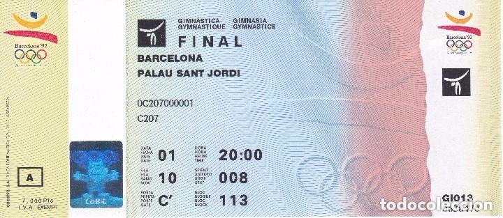 ENTRADA DE LA FINAL DE GIMNASIA - OLIMPIADAS DE BARCELONA'92 EN EL PALAU SANT JORDI (COBI) (Coleccionismo Deportivo - Documentos de Deportes - Otros)