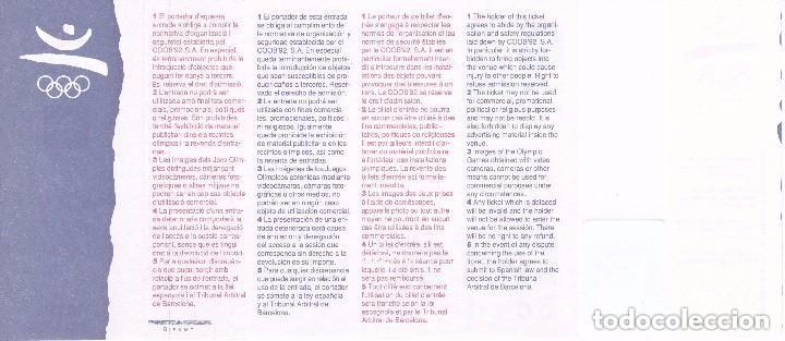 Coleccionismo deportivo: ENTRADA DE LA FINAL DE GIMNASIA - OLIMPIADAS DE BARCELONA92 EN EL PALAU SANT JORDI (COBI) - Foto 2 - 88187580