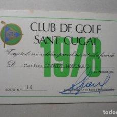 Coleccionismo deportivo: CARNET SOCIO CLUB DE GOLF SAN CUGAT. Lote 88841816