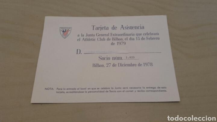 ATHLETIC BILBAO. TARJETA DE ASISTENCIA A LA JUNTA DEL 15/2/1979. (Coleccionismo Deportivo - Documentos de Deportes - Otros)