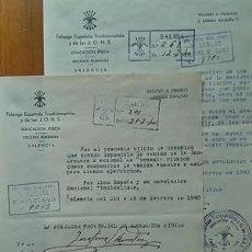 Coleccionismo deportivo: LOTE DE 2 CIRCULARES DE GIMNASIA RITMICA DE LA SECCION FEMENINA DE VALENCIA 1940 FALANGE. Lote 90914425