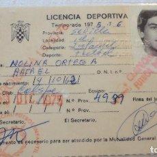 Coleccionismo deportivo: LICENCIA DEPORTIVA.FUTBOL.INFANTIL.COLSPE.RAFAEL MOLINA ORTEGA.SEVILLA.1975-76. Lote 91866415