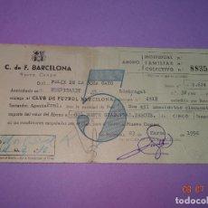 Coleccionismo deportivo: ANTIGUA CARNET ABONO COLECTIVO 5 TEMPORADAS EN NUEVO CAMPO DEL CLUB DE FUTBOL BARCELONA DE 1956-60. Lote 91918875