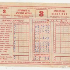 Coleccionismo deportivo: RESGUARDO DE BOLETO QUINIELA DEL 25 SEPTIEMBRE DE 1960.. Lote 92225610