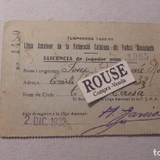 Coleccionismo deportivo: FUTBOL TEMPORADA 1932/33 - C. D. CASSA CARNET LICENCIA DE JUGADOR 11,5X7,5 CM. . Lote 93692580