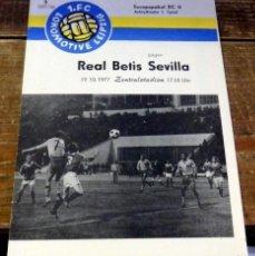 Coleccionismo deportivo: LEIPZIG, 1977, PROGRAMA PARTIDO RECOPA LOKOMOTIVE LEIPZIG -REAL BETIS, EN ALEMAN, MUY RARO. Lote 94175370