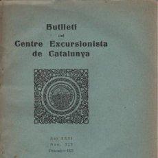 Coleccionismo deportivo: BUTLLETI CENTRE EXCURSIONISTA DE CATALUNYA DESEMBRE1921 - BARCELONA. Lote 95762023