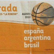 Coleccionismo deportivo: ENTRADA BALONCESTO EN LOGROÑO. ESPAÑA, ARGENTINA Y BRASIL. Lote 96306856