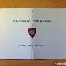 Coleccionismo deportivo: FOLLETO ANTIGUO DEL CLUB ATLETICO SAN LORENZO DE ALMAGRO (ARGENTINA) - AÑOS 70. Lote 96571667