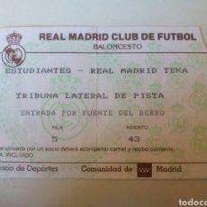 Coleccionismo deportivo: ANTIGUA ENTRADA BALONCESTO REAL MADRID. Lote 98060003