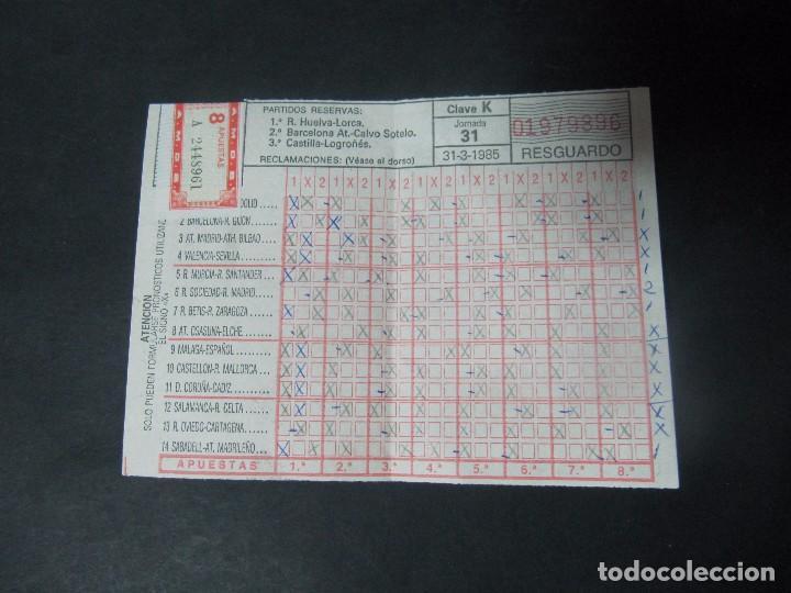RESGUARDO QUINIELA 31-3-85 31 DE MARZO DE 1985 (Coleccionismo Deportivo - Documentos de Deportes - Otros)
