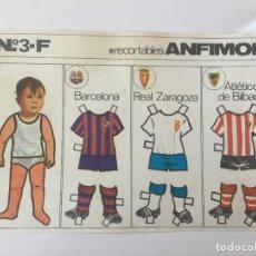 Coleccionismo deportivo: RECORTABLE ANFIMON. EQUIPOS BARCELONA, REAL ZARAGOZA, ATLÉTICO DE BILBAO.. Lote 98714539