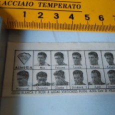 Coleccionismo deportivo: 1959 ALINEACION EQUIPO FUTBOL - 11 JUGADORES Y ESCUDO - ALMERIA 1958. Lote 98856071