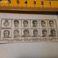 Coleccionismo deportivo: REFERENCIA CARTON - 1959 ALINEACION EQUIPO FUTBOL - 11 JUGADORES Y ESCUDO - 1958 - SANTANDER. Lote 98882207