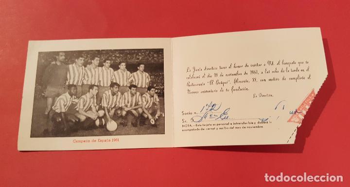 INVITACIÓN IX ANIVERSARIO PEÑA CUATRO CAMINOS (1961, FOTO EQUIPO AT. MADRID) ORIGINAL. COLECCIONISTA (Coleccionismo Deportivo - Documentos de Deportes - Otros)