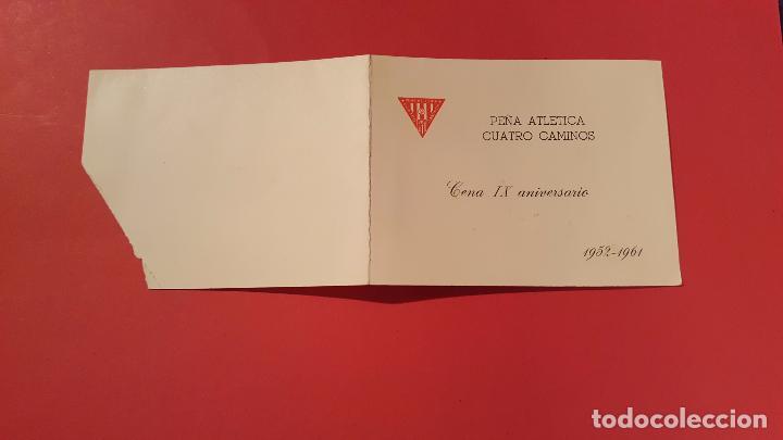 Coleccionismo deportivo: Invitación IX aniversario Peña CUATRO CAMINOS (1961, Foto equipo At. Madrid) Original. Coleccionista - Foto 2 - 99256279
