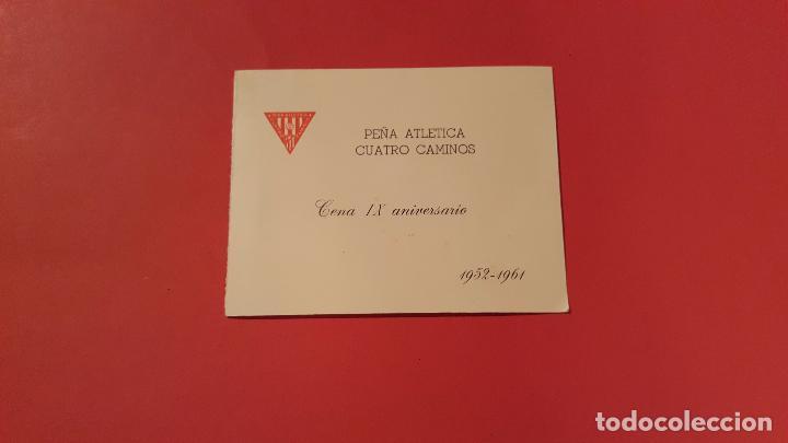 Coleccionismo deportivo: Invitación IX aniversario Peña CUATRO CAMINOS (1961, Foto equipo At. Madrid) Original. Coleccionista - Foto 3 - 99256279
