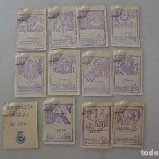 Coleccionismo deportivo: CONJUNTO DE 12 CUPONES SOCIO REALMADRID 1954. Lote 99301927