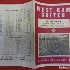 Coleccionismo deportivo: WEST HAM UNITED-ASTON VILLA. OFFICIAL PROGRAMME 1960-1961. . Lote 99742307
