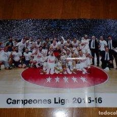 Coleccionismo deportivo: PÓSTER GIGANTE - REAL MADRID - CAMPEÓN LIGA 2015-16 BALONCESTO. Lote 100657907