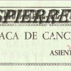 Coleccionismo deportivo: ENTRADA, FRONTÓN MUNICIPAL DE VERGARA, 1976. Lote 101018567