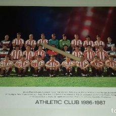Coleccionismo deportivo: TARJETON PLANTILLA ATHLETIC CLUB DE BILBAO OFICIAL TEMPORADA 1986-1987 27 X 21 CM PERFECTO ESTADO. Lote 210266500