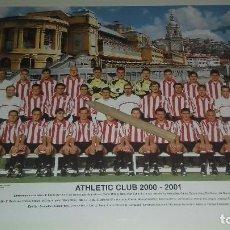 Coleccionismo deportivo: TARJETON PLANTILLA ATHLETIC CLUB DE BILBAO OFICIAL TEMPORADA 2000-2001 28 X 20,5 CM PERFECTO ESTADO. Lote 102746467