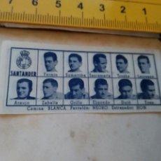 Coleccionismo deportivo: 1960 ALINEACION EQUIPO FUTBOL - 11 JUGADORES Y ESCUDO - CLUB - SANTANDER. Lote 102942199