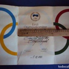 Coleccionismo deportivo: (F-171182)DIPLOMA OLIMPICO DE ESTONIA 9 - 8 - 1992. Lote 103370719