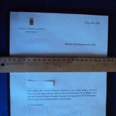 Coleccionismo deportivo: (F-171184)FIRMA CARLOS FERRER SALAT PRESIDENTE COMITE OLIMPICO ESPAÑOL - OLIMPIADA BARCELONA 92. Lote 103371795