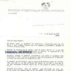 Coleccionismo deportivo: (F-171193)FIRMA DE JOAO HAVELANGE PRESIDENTE DE FIFA - OLIMPIADAS BARCELONA 92. Lote 103399335