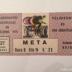 Coleccionismo deportivo: ENTRADA CAMPEONATOS MUNDIALES DE CICLISMO 1973 - VELODROMO DE SAN SEBASTIAN. Lote 103448099