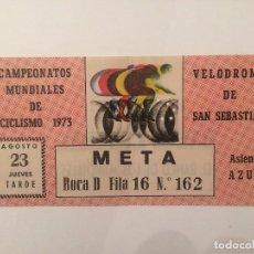 Coleccionismo deportivo: ENTRADA CAMPEONATOS MUNDIALES DE CICLISMO 1973 - VELODROMO DE SAN SEBASTIAN. Lote 103448103