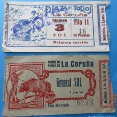 Coleccionismo deportivo: DOS ENTRADAS PLARA LA PLAZA DE TOROS DE LA CORUÑA. AÑOS 1943 Y 1944.. Lote 103478759
